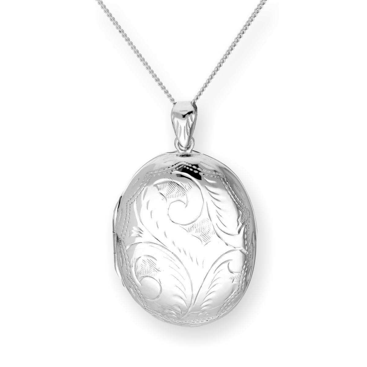 Large Sterling Silver Engraved Oval Locket on Chain 16 - 24 Inches