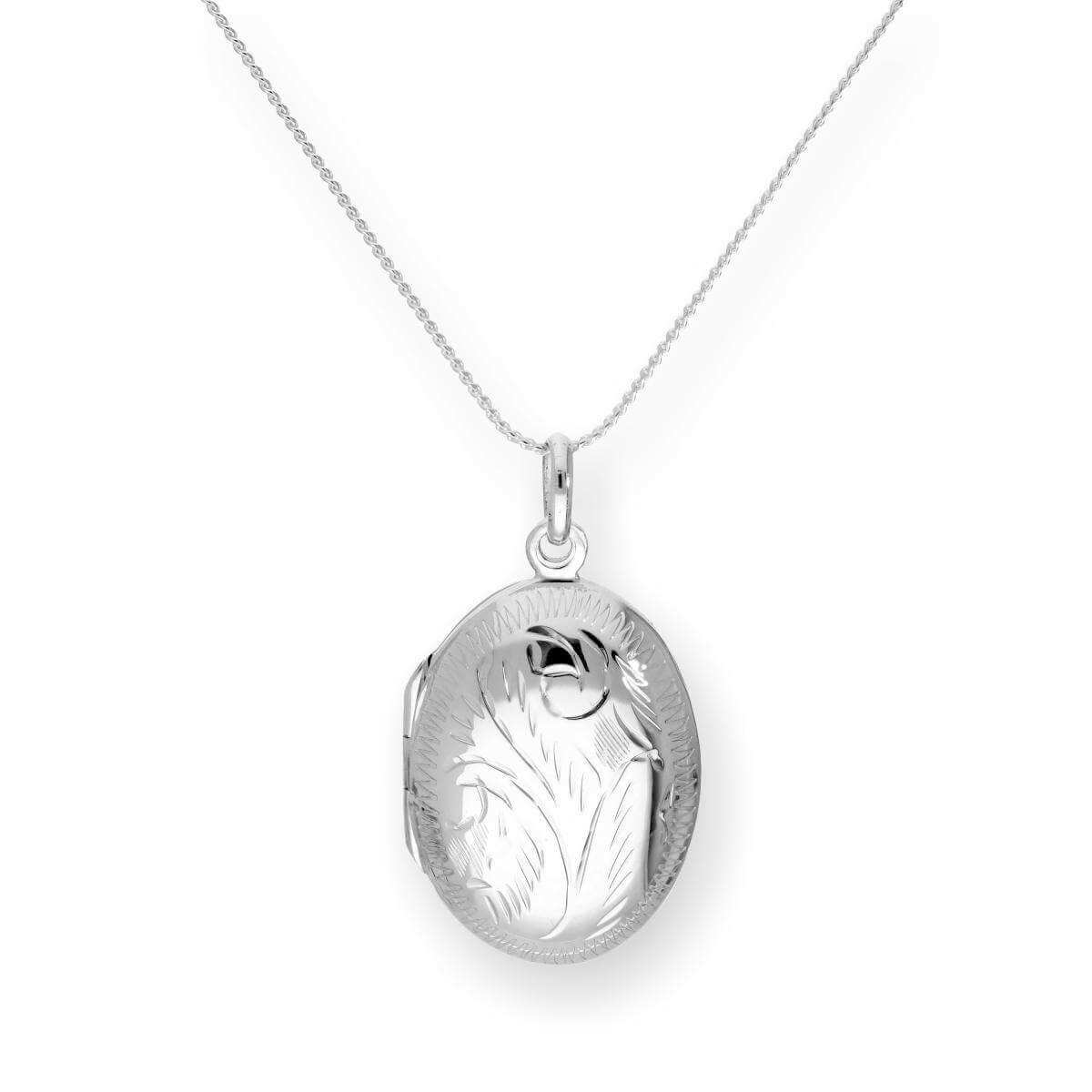 Sterling Silver Engraved Oval Locket on Chain 16 - 22 Inches