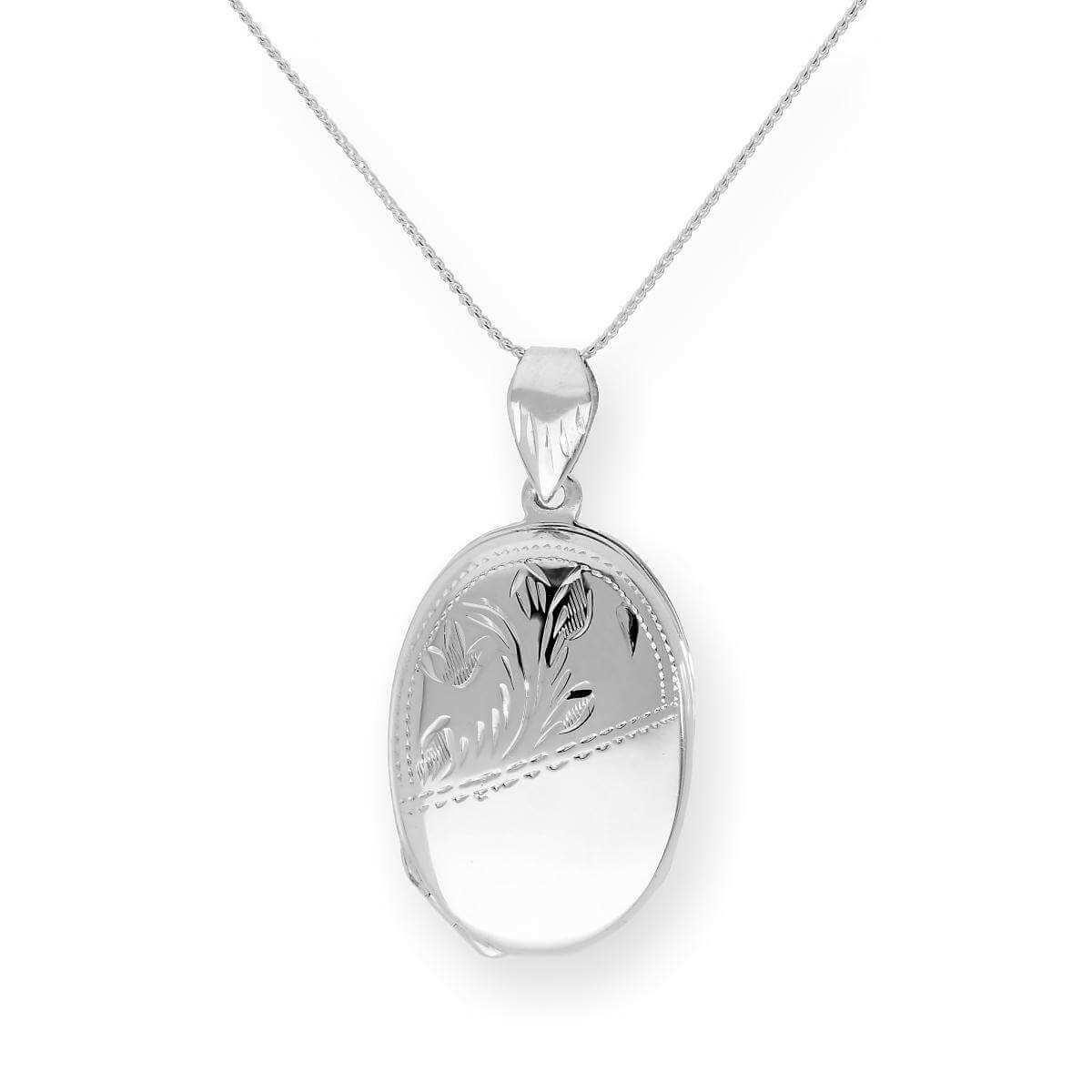 Sterling Silver 4 Photo Family Oval Locket on Chain 16 - 24 Inches