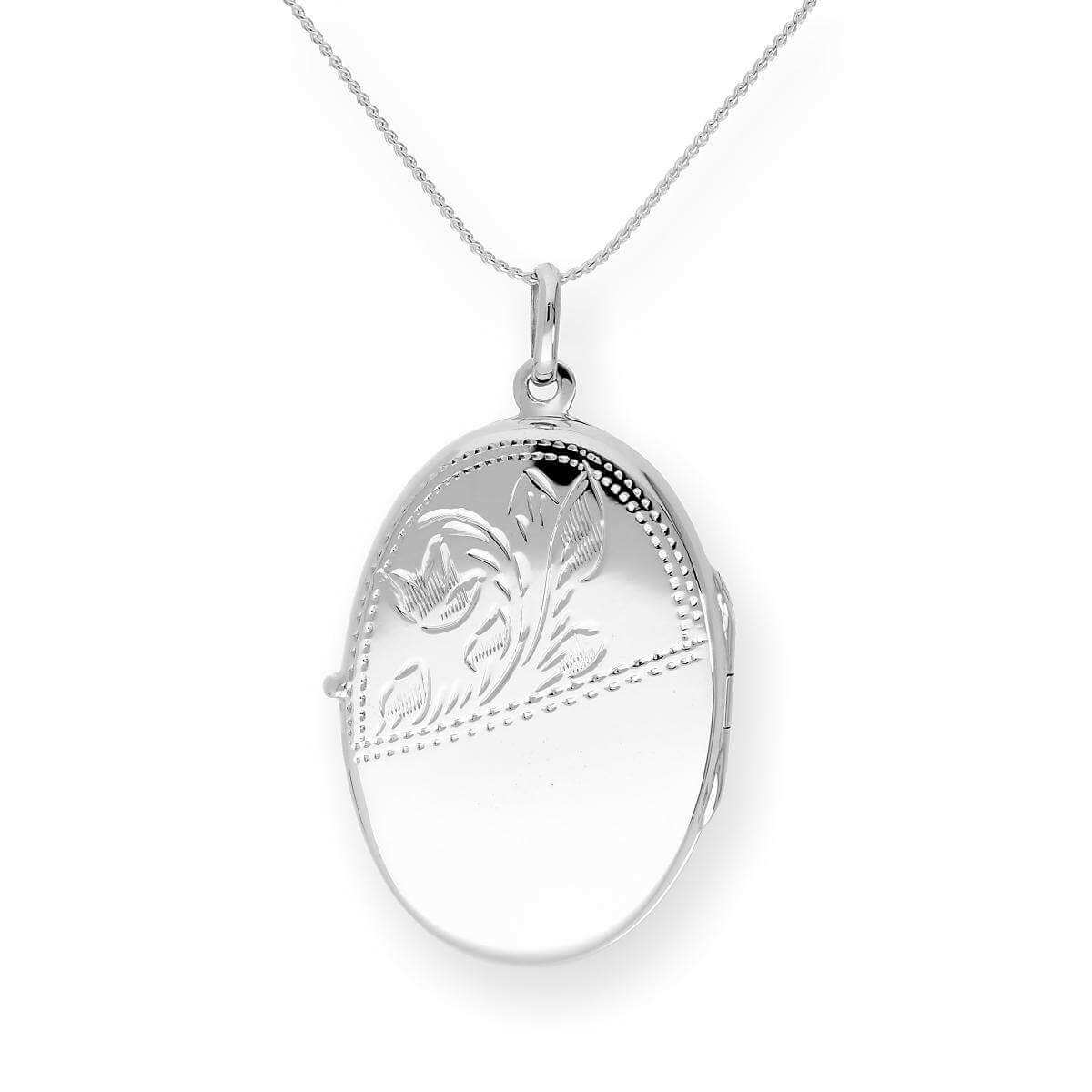 Large Sterling Silver Engravable Oval Locket on Chain 16 - 24 Inches