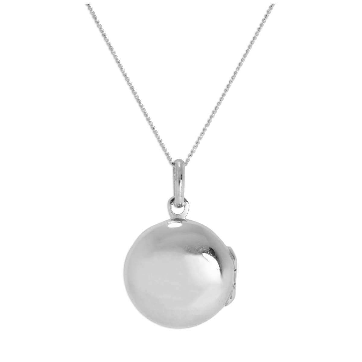 Sterling Silver Plain Round Locket on Chain 14 - 32 Inches