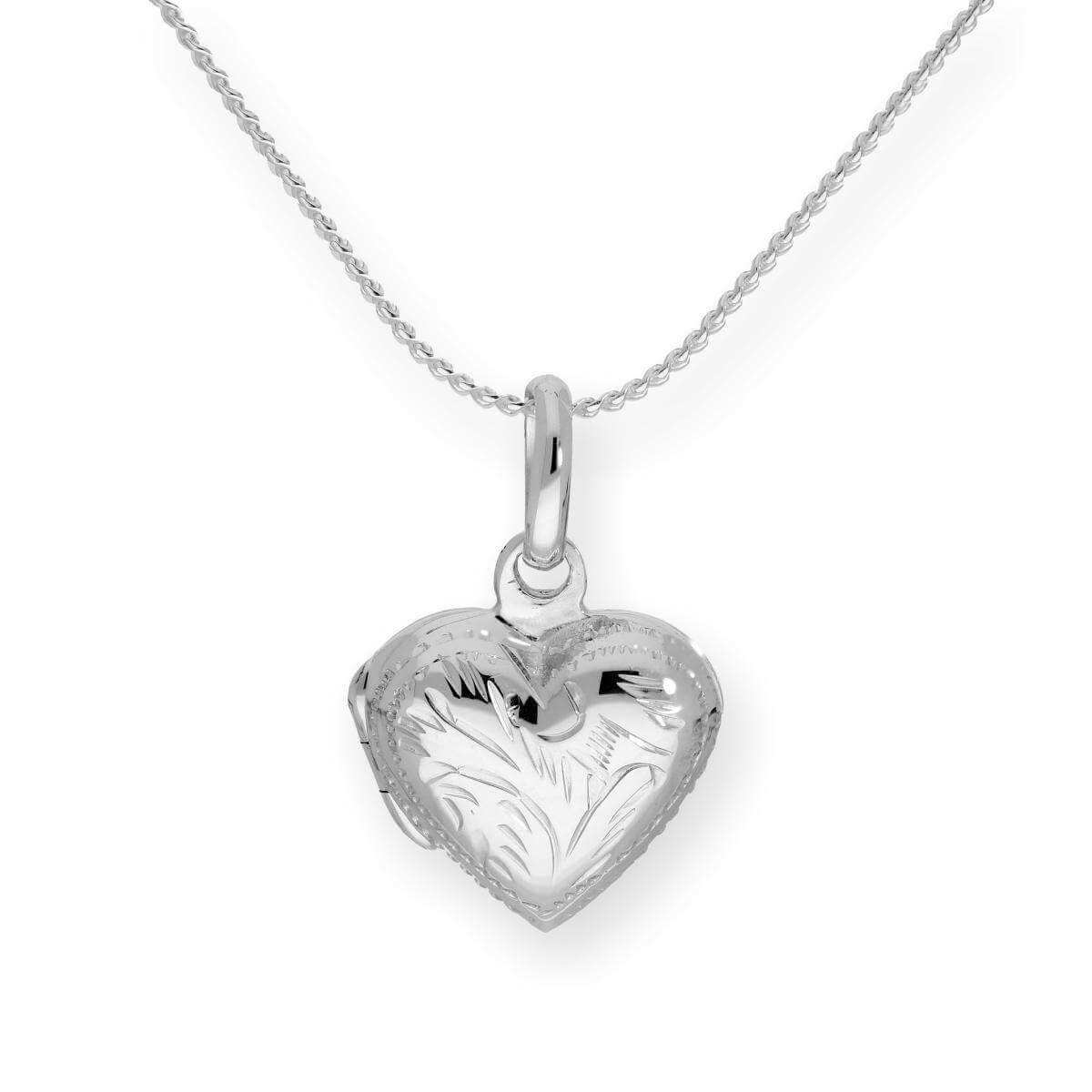Sterling Silver Puffed Heart Engraved Locket on Chain 16 - 22 Inches