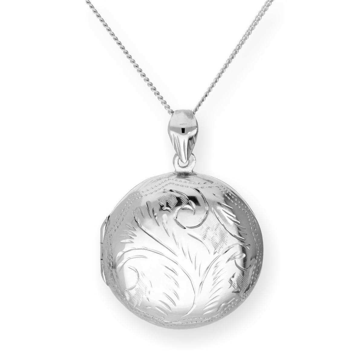 Large Sterling Silver Engraved Round Locket on Chain 16 - 24 Inches