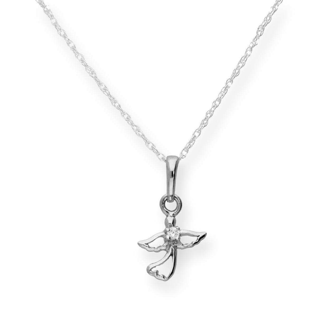 Sterling Silver & Clear CZ Crystal Cut Out Angel Pendant on Chain 16 - 22 Inches