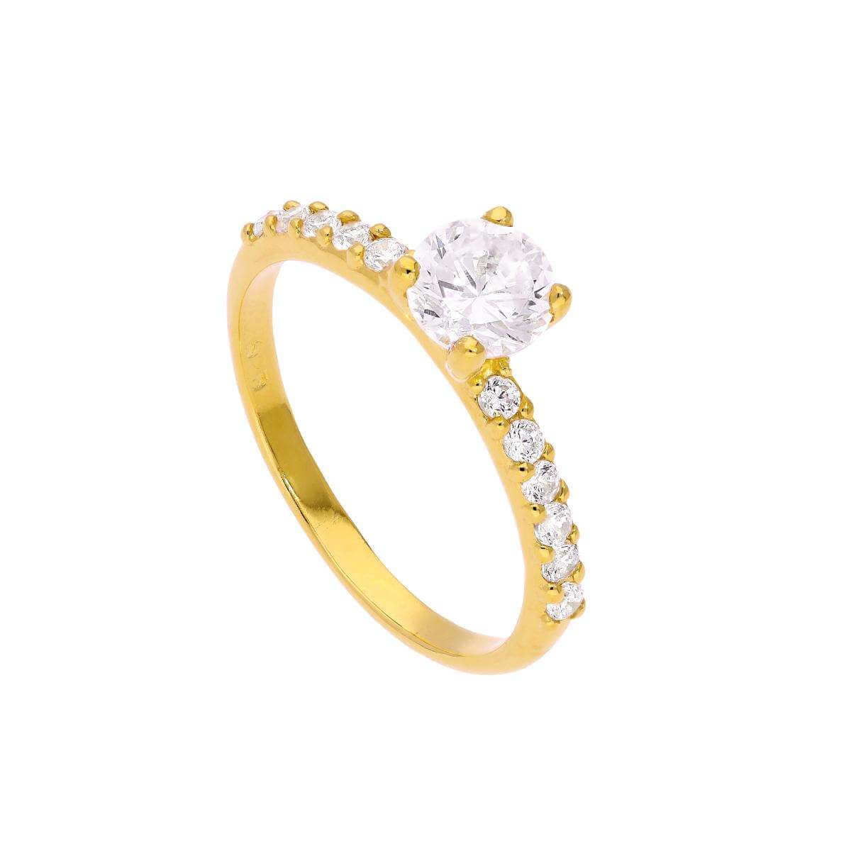 Gold Plated Sterling Silver & Clear CZ Crystal Ring Size J - W