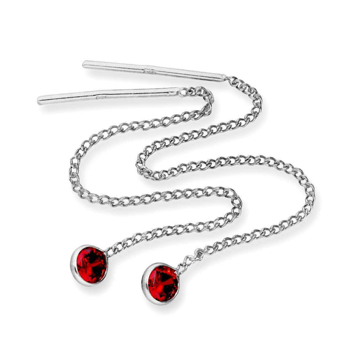 Sterling Silver & Round Garnet CZ Crystal January Birthstone Pull Thru Earrings