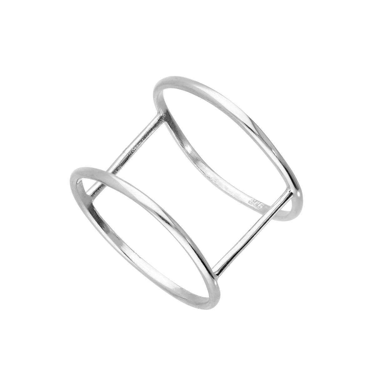 Sterling Silver Double Band Ring Size I - W