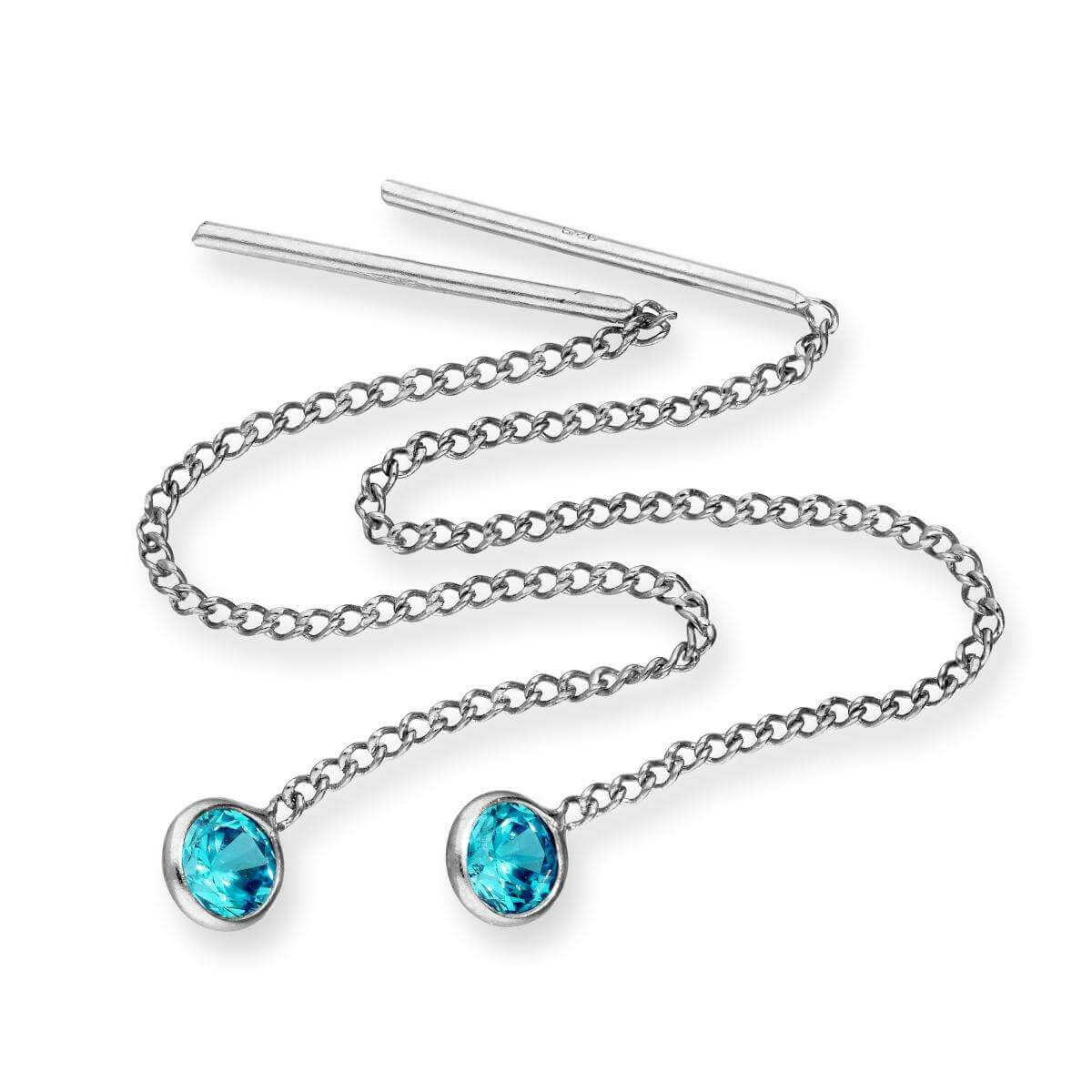 Sterling Silver & Round Aquamarine CZ Crystal March Birthstone Pull Thru Earrings