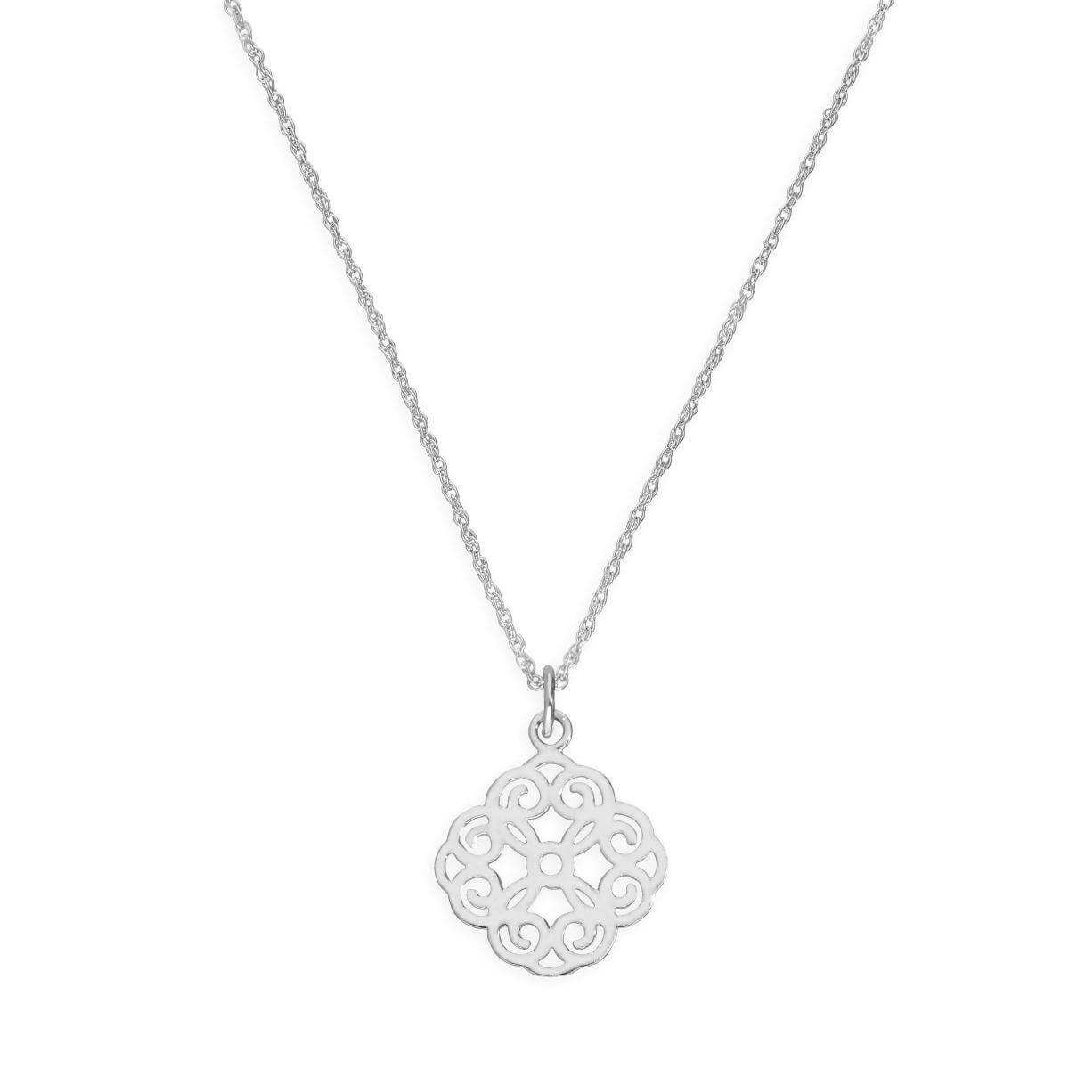 Sterling Silver Large Open Flower Pendant Necklace 14 - 22 Inches