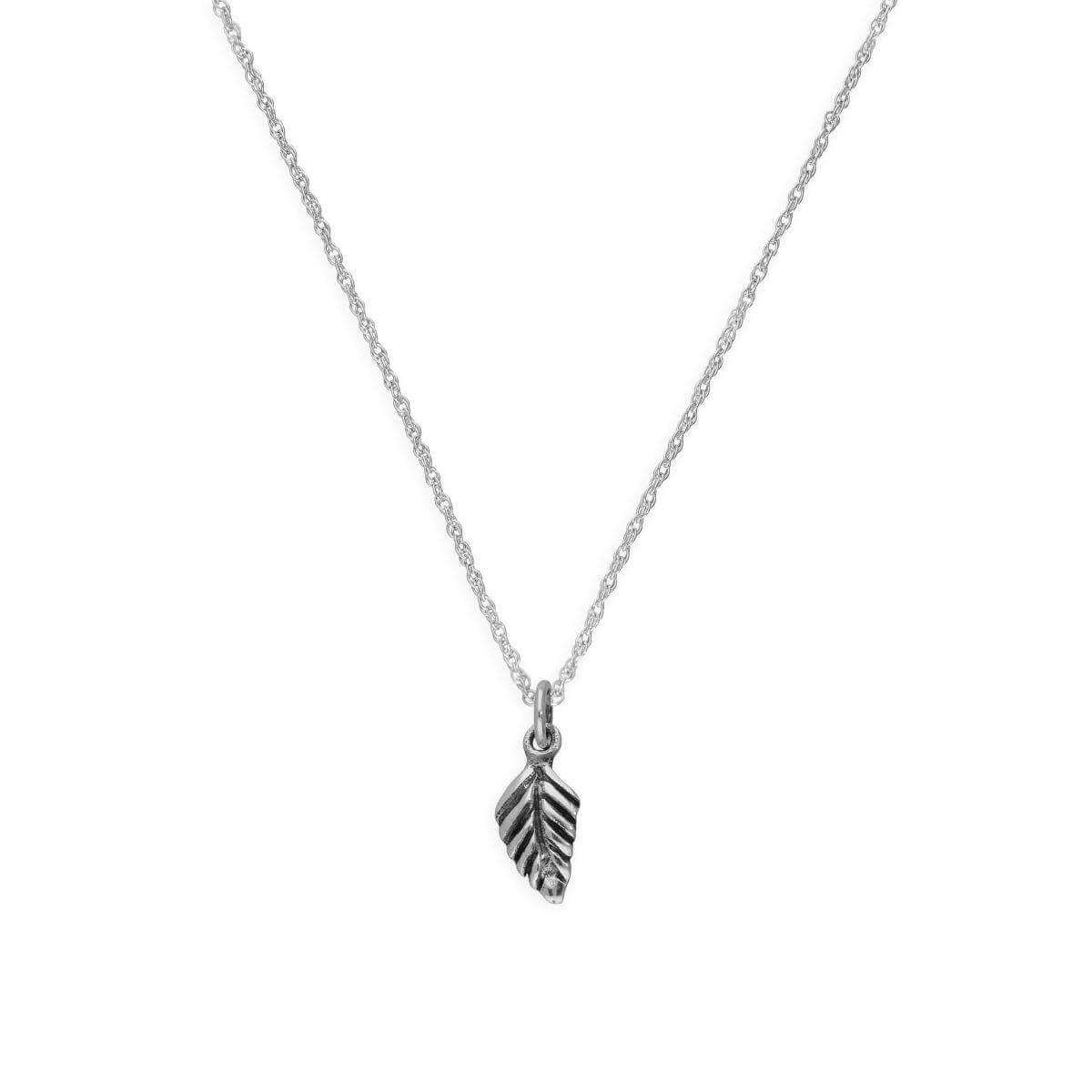 Sterling Silver Little Leaf Pendant Necklace 14 - 22 Inches