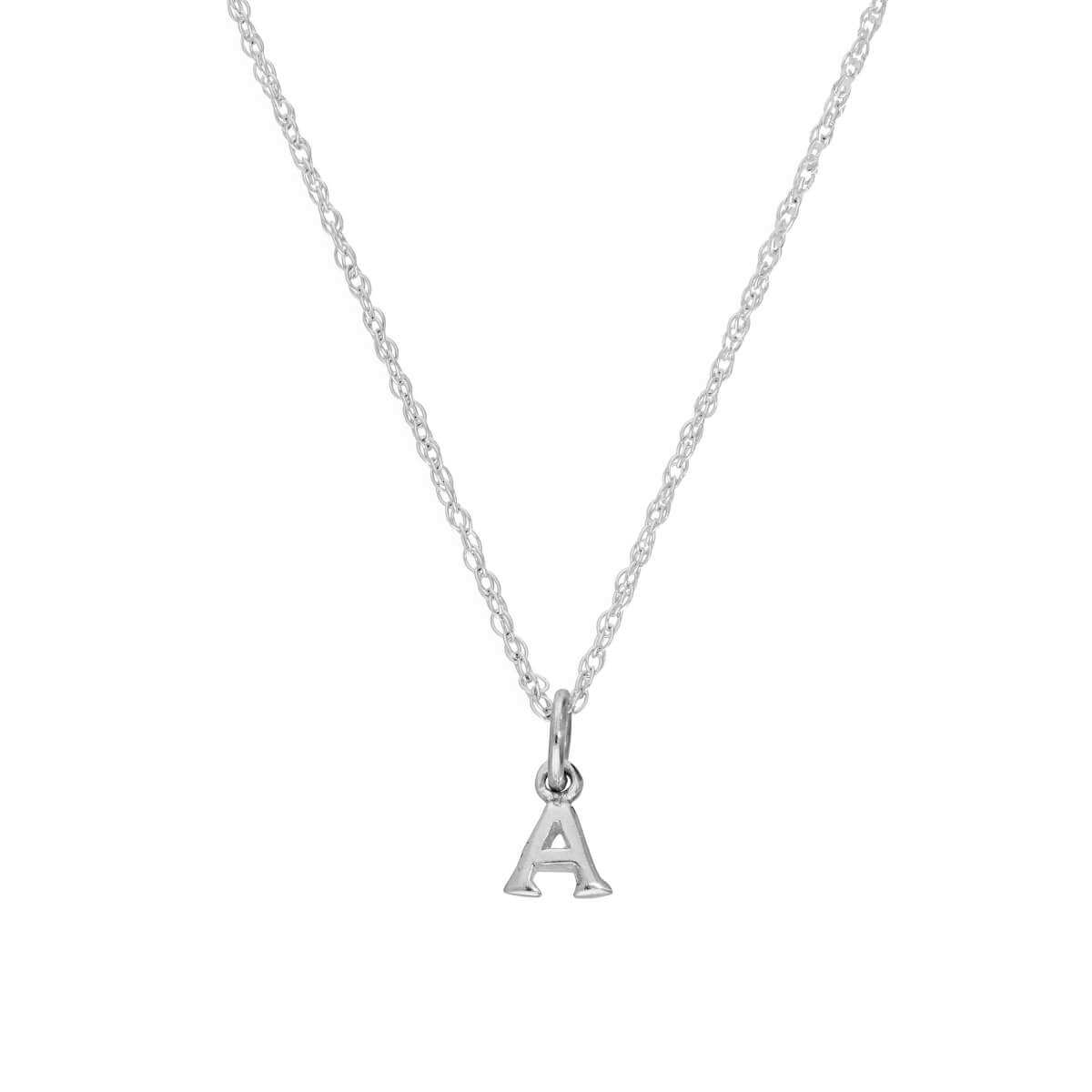 Tiny Sterling Silver Alphabet Letter A Pendant Necklace 14 - 22 Inches