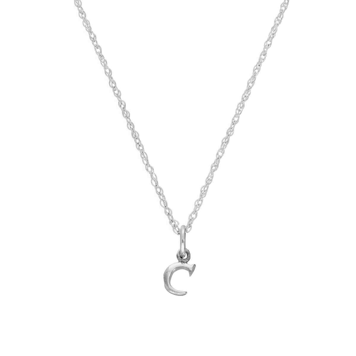 Tiny Sterling Silver Alphabet Letter C Pendant Necklace 14 - 22 Inches