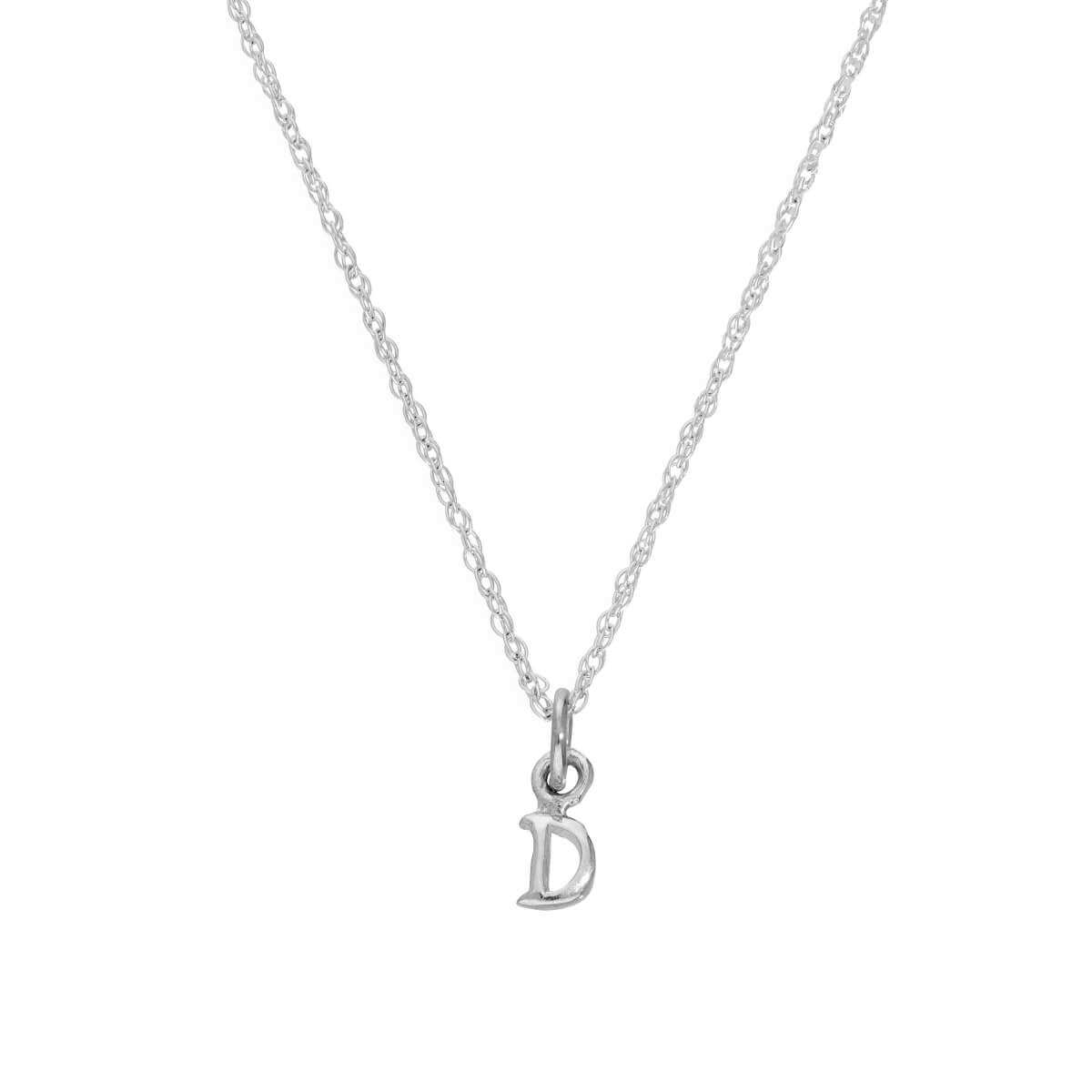 Tiny Sterling Silver Alphabet Letter D Pendant Necklace 14 - 22 Inches