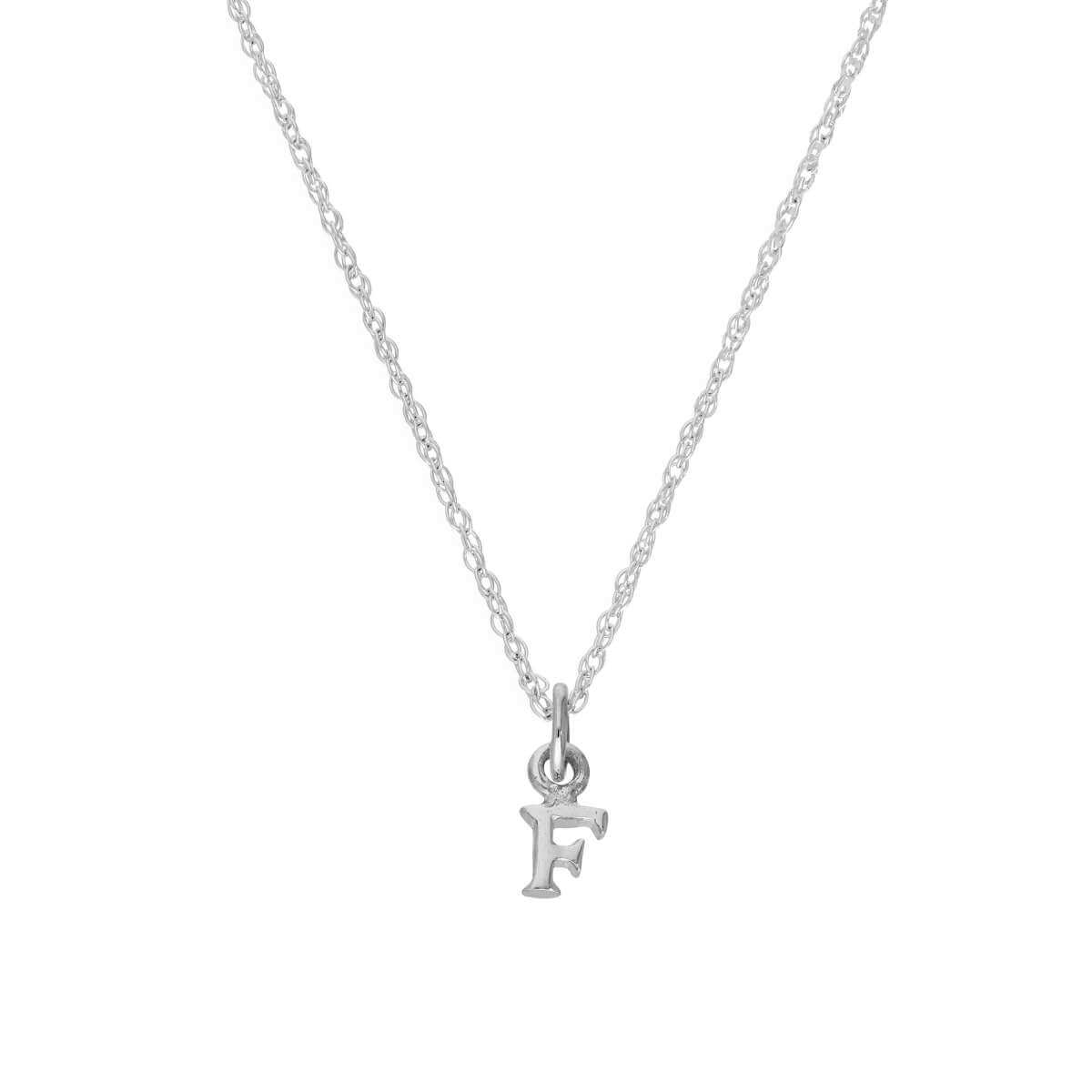 Tiny Sterling Silver Alphabet Letter F Pendant Necklace 14 - 22 Inches