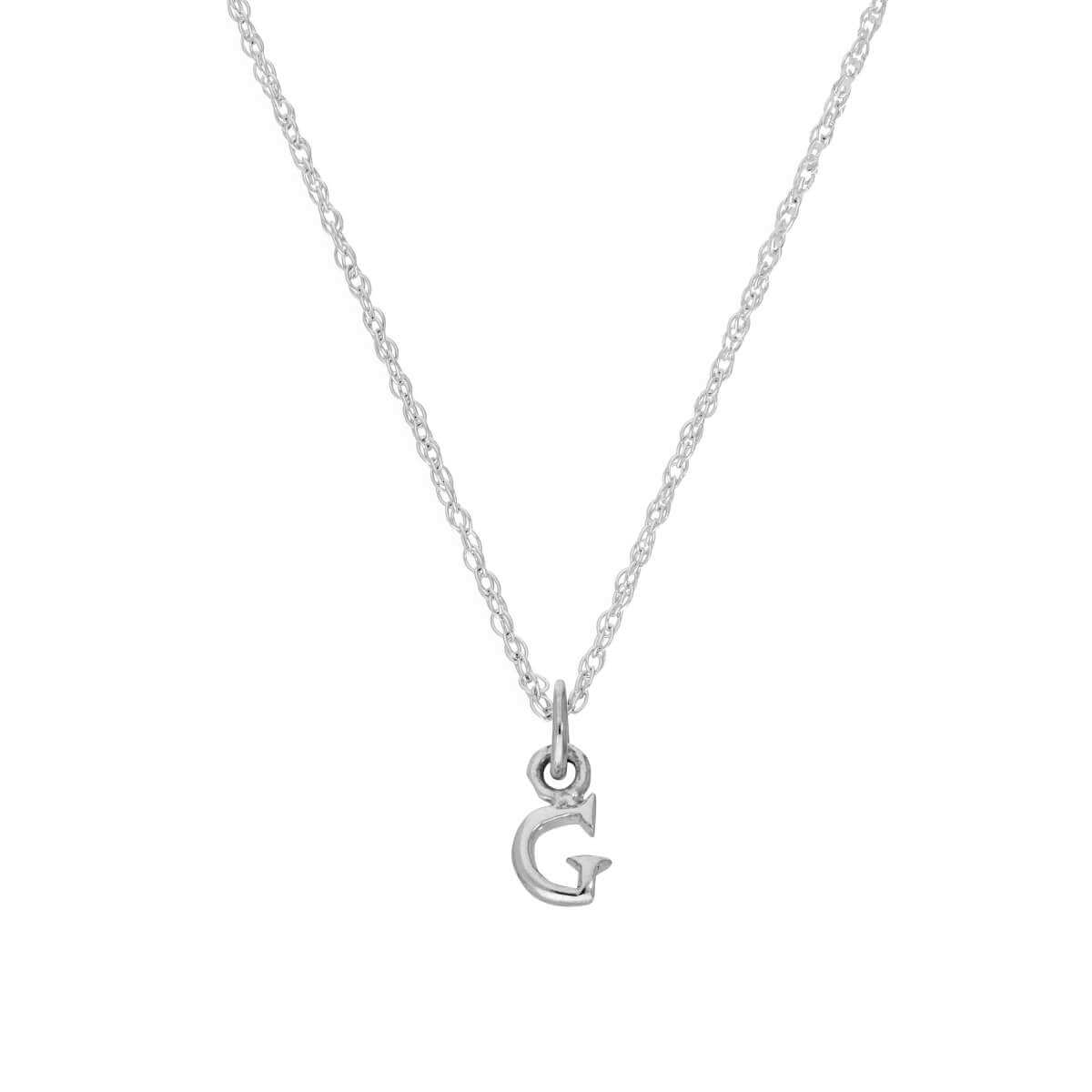 Tiny Sterling Silver Alphabet Letter G Pendant Necklace 14 - 22 Inches