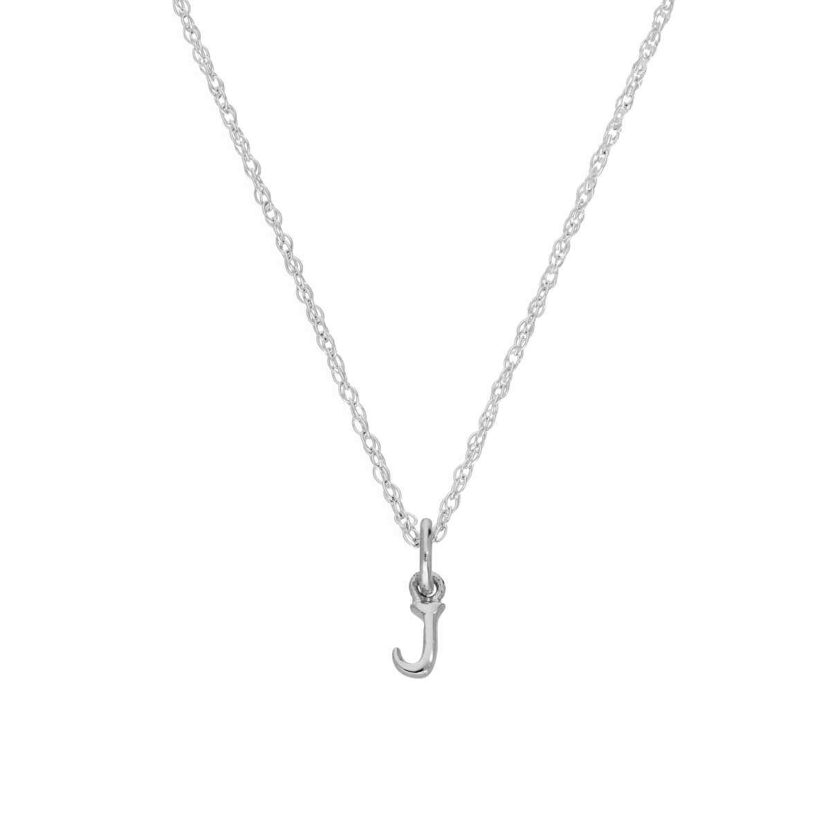 Tiny Sterling Silver Alphabet Letter J Pendant Necklace 14 - 22 Inches