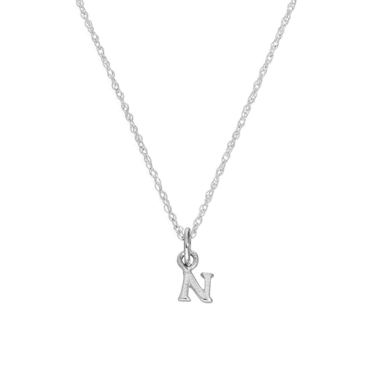 Tiny Sterling Silver Alphabet Letter N Pendant Necklace 14 - 22 Inches