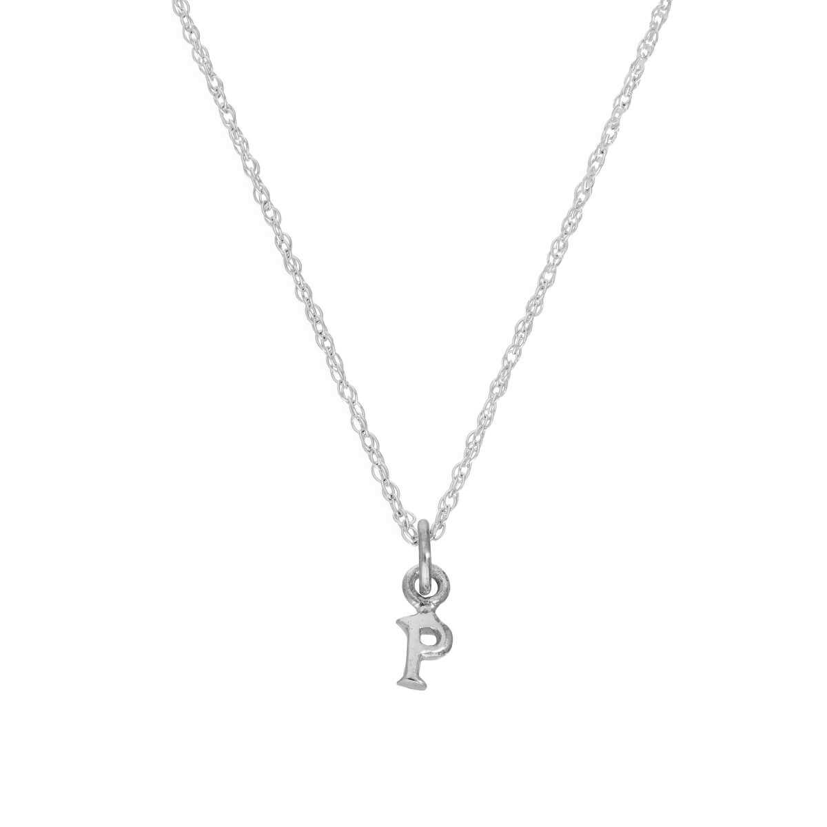 Tiny Sterling Silver Alphabet Letter P Pendant Necklace 14 - 22 Inches