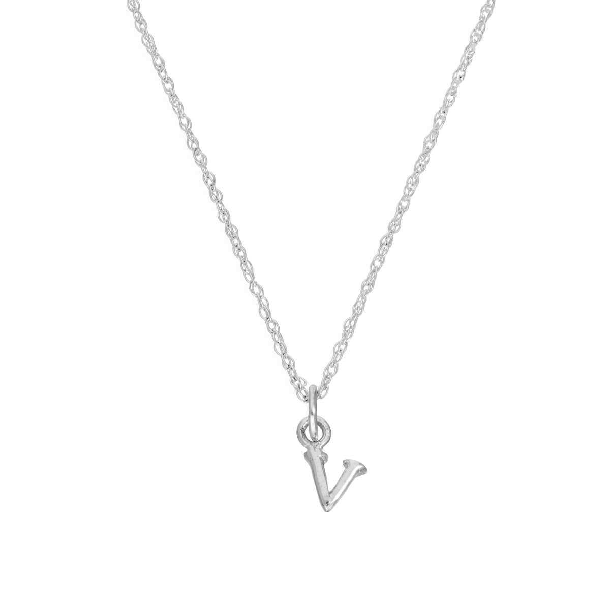 Tiny Sterling Silver Alphabet Letter V Pendant Necklace 14 - 22 Inches