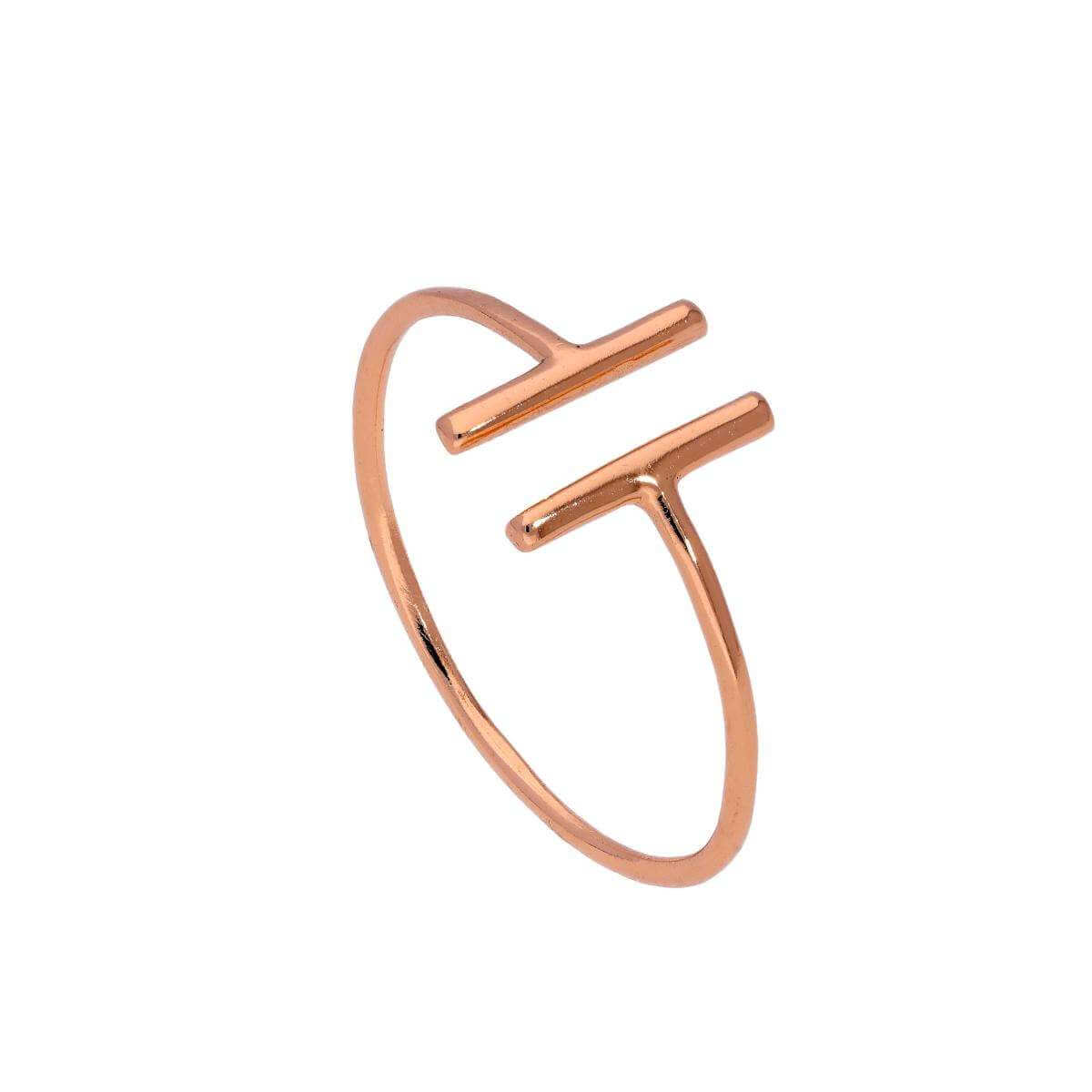 Rose Gold Plated Sterling Silver Bar Ring Size J - W