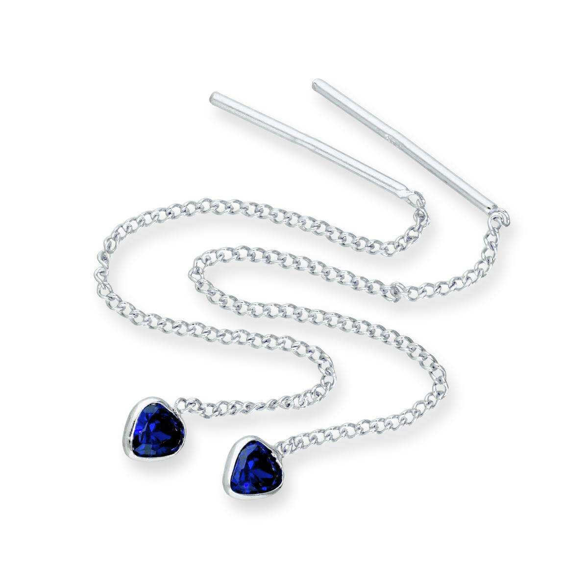 Sterling Silver & Sapphire CZ Crystal Heart September Birthstone Pull Thru Earrings