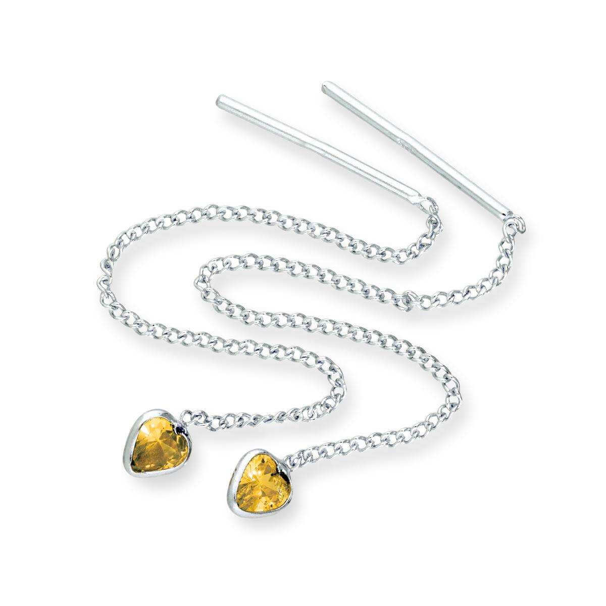 Sterling Silver & Citrine CZ Crystal Heart November Birthstone Pull Thru Earrings