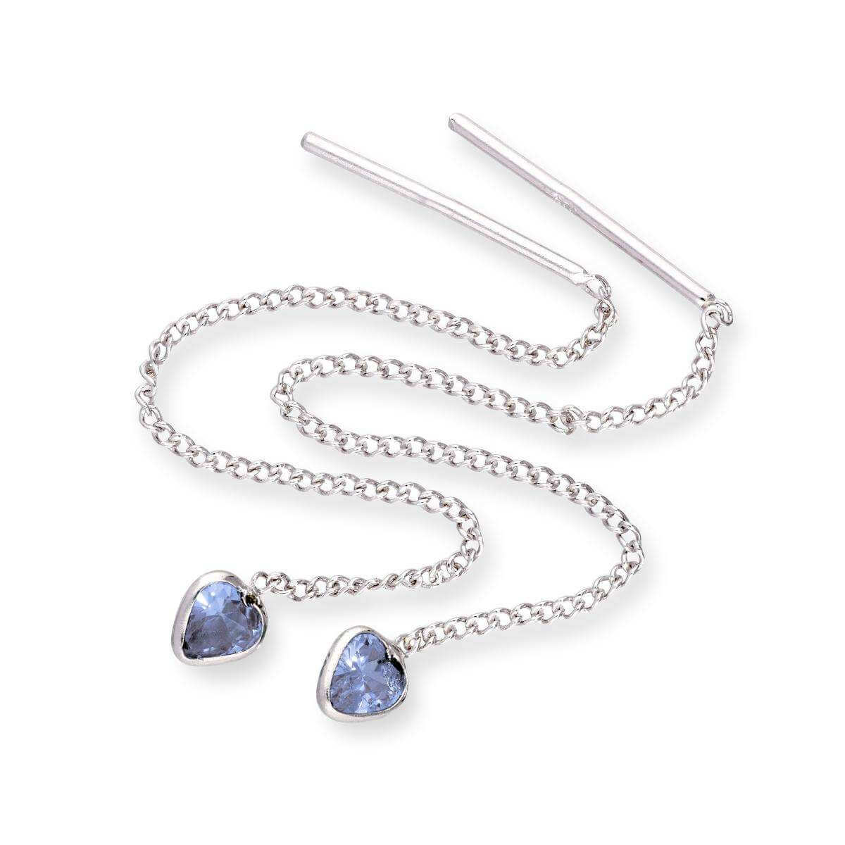 Sterling Silver & Tanzanite CZ Crystal Heart December Birthstone Pull Thru Earrings