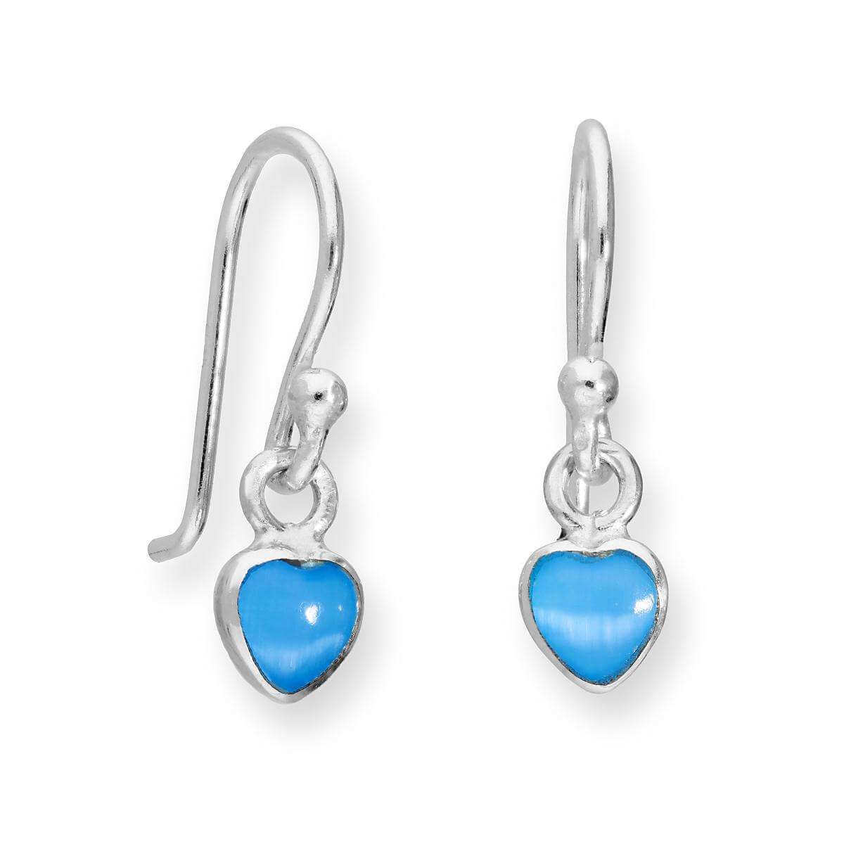 Sterling Silver & Blue Mother of Pearl Heart Dangle Drop Earrings