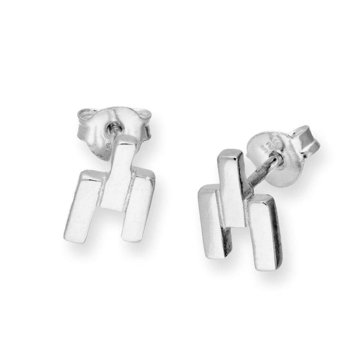 Sterling Silver Bricks Stud Earrings