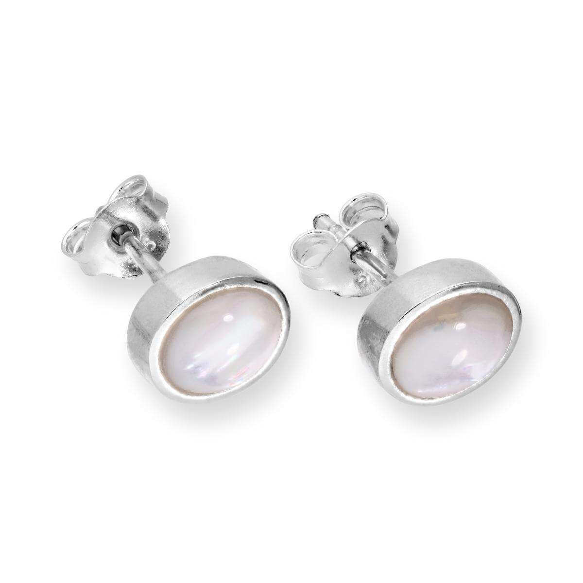 Sterling Silver & Mother of Pearl Round Stud Earrings