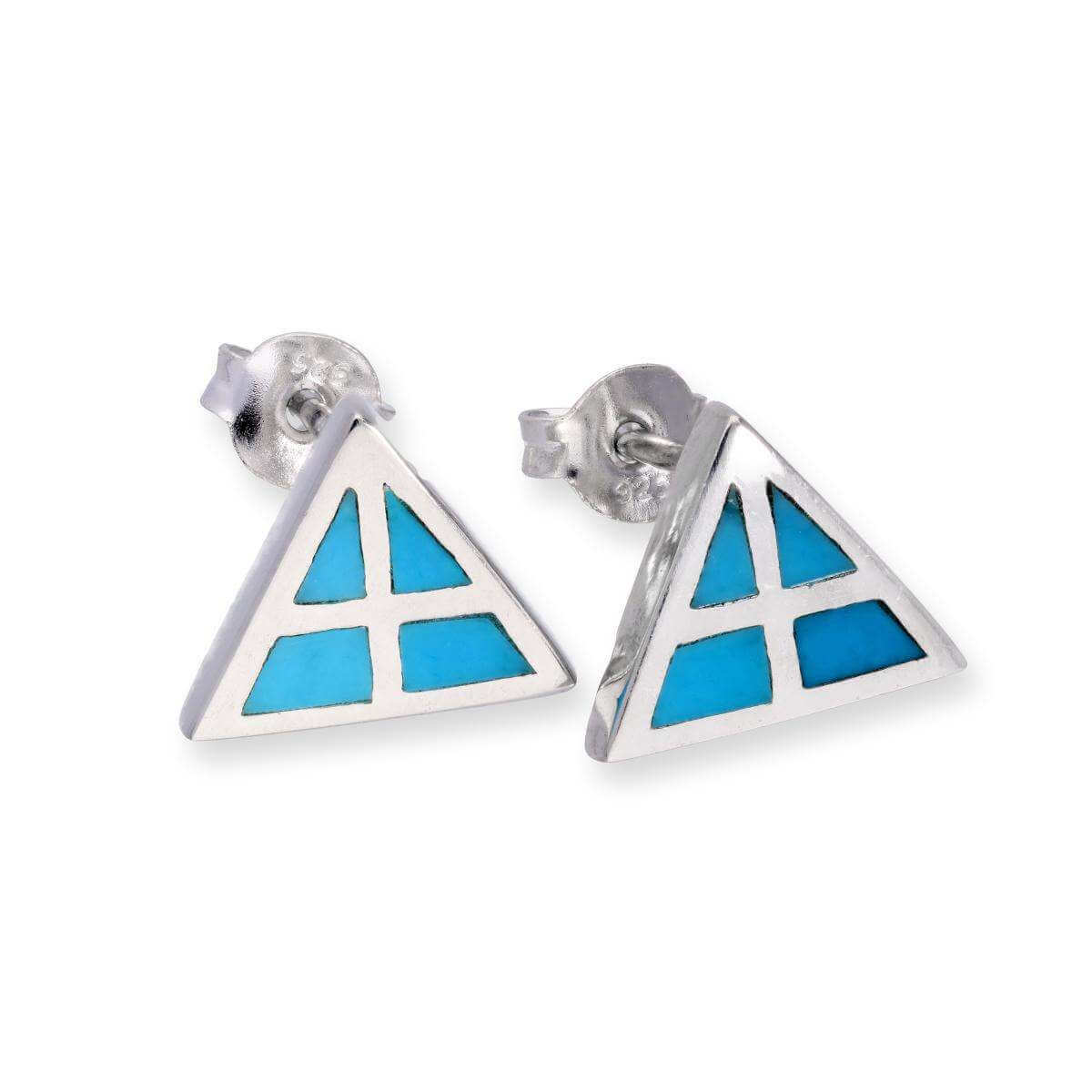 Sterling Silver & Blue Turquoise Arty Triangle Stud Earrings