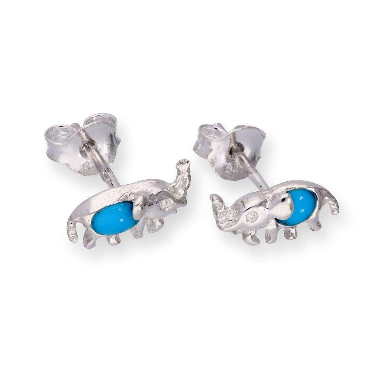 Sterling Silver & Blue Turquoise Elephant Stud Earrings