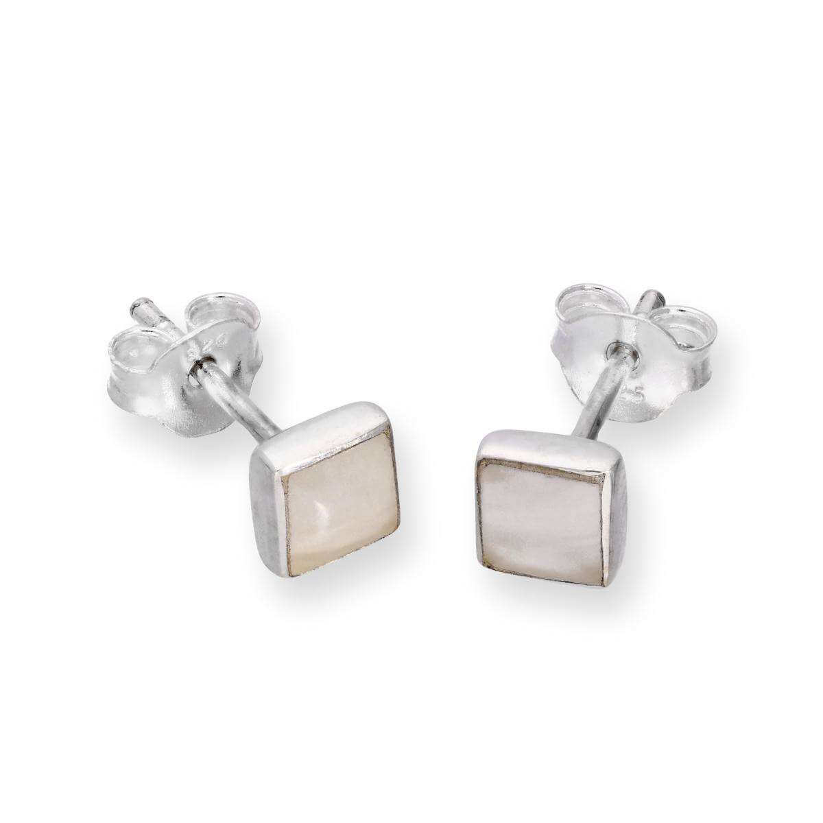 Sterling Silver & Mother of Pearl Square Stud Earrings