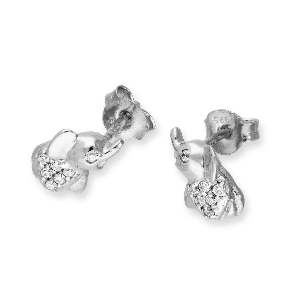Sterling Silver & Clear CZ Crystal Elephant Stud Earrings