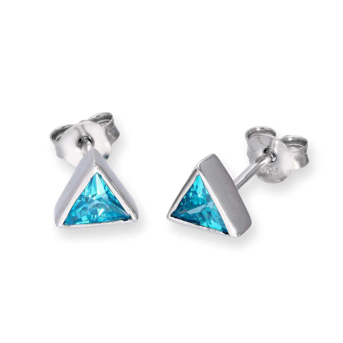 Sterling Silver & Aquamarine CZ Crystal Triangle March Birthstone Stud Earrings