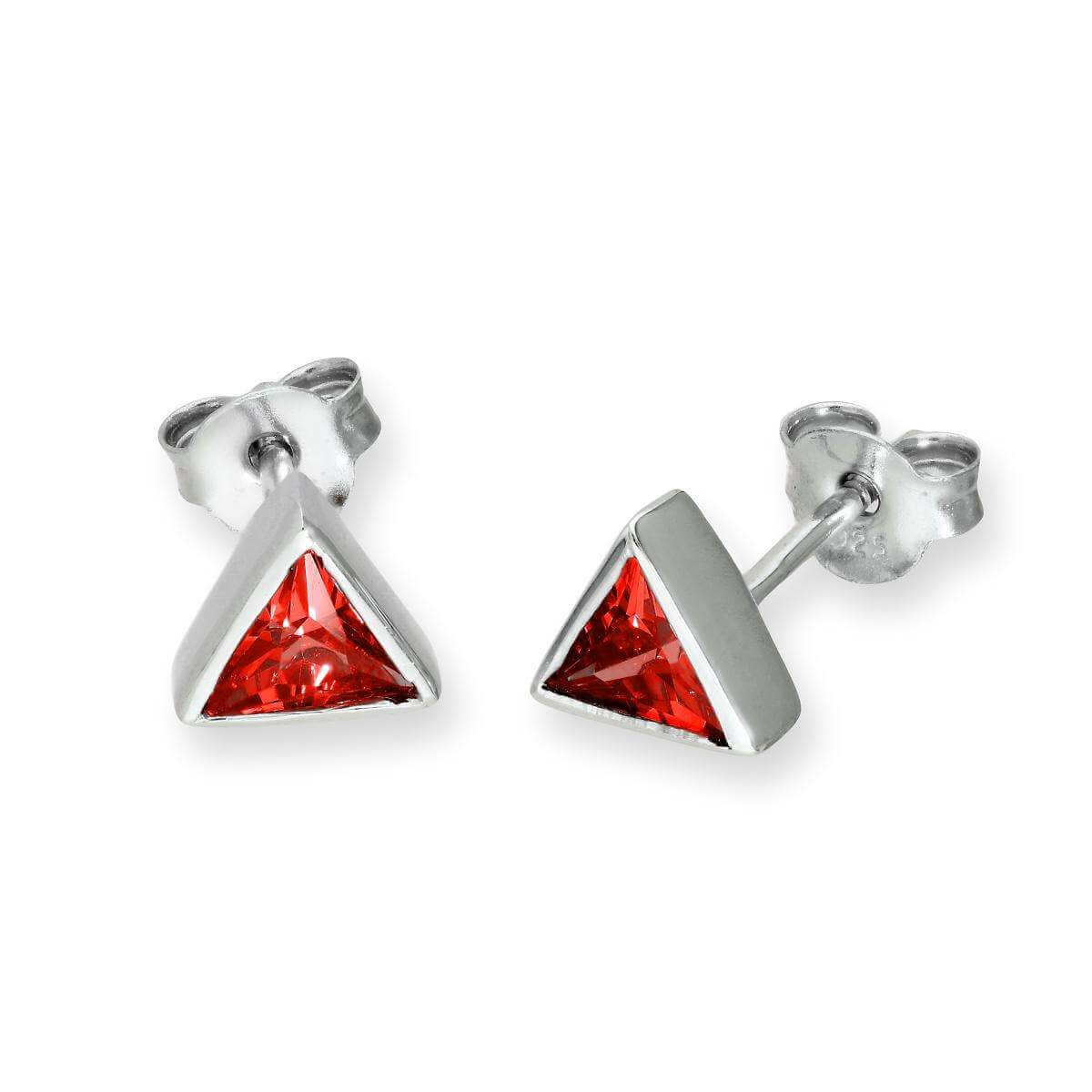 Sterling Silver & Garnet CZ Crystal Triangle January Birthstone Stud Earrings