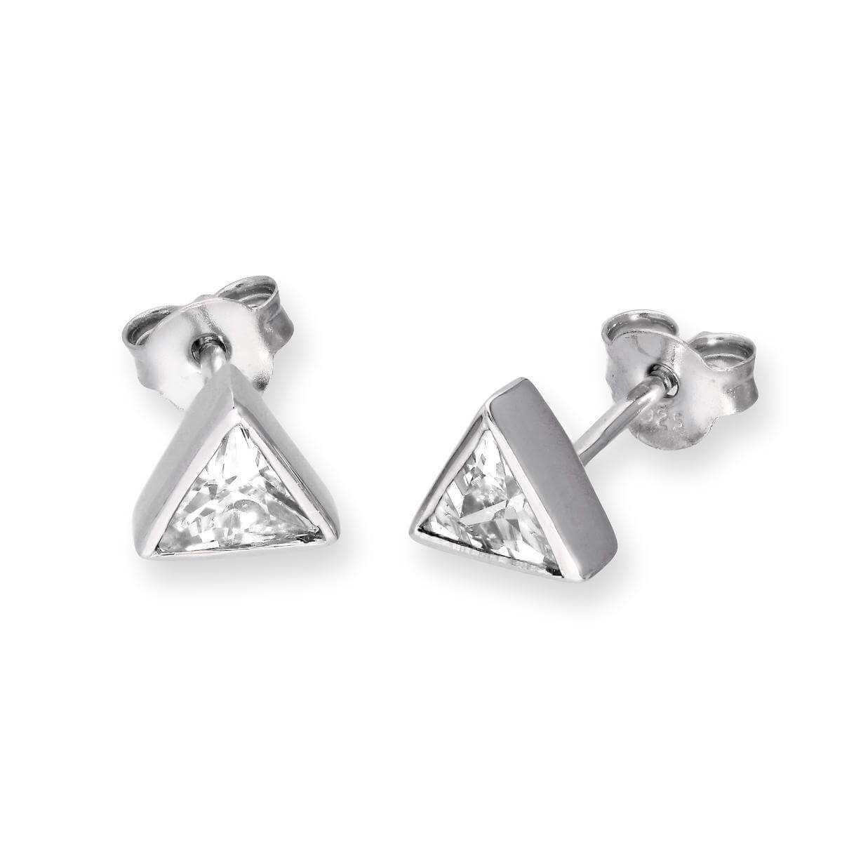 Sterling Silver & Clear CZ Crystal Triangle April Birthstone Stud Earrings