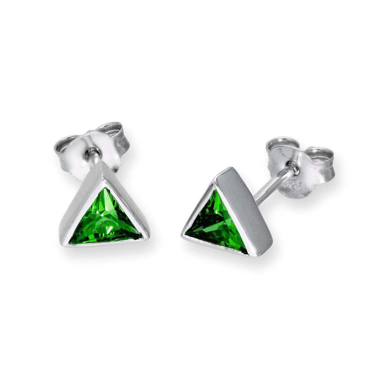 Sterling Silver & Emerald CZ Crystal Triangle May Birthstone Stud Earrings