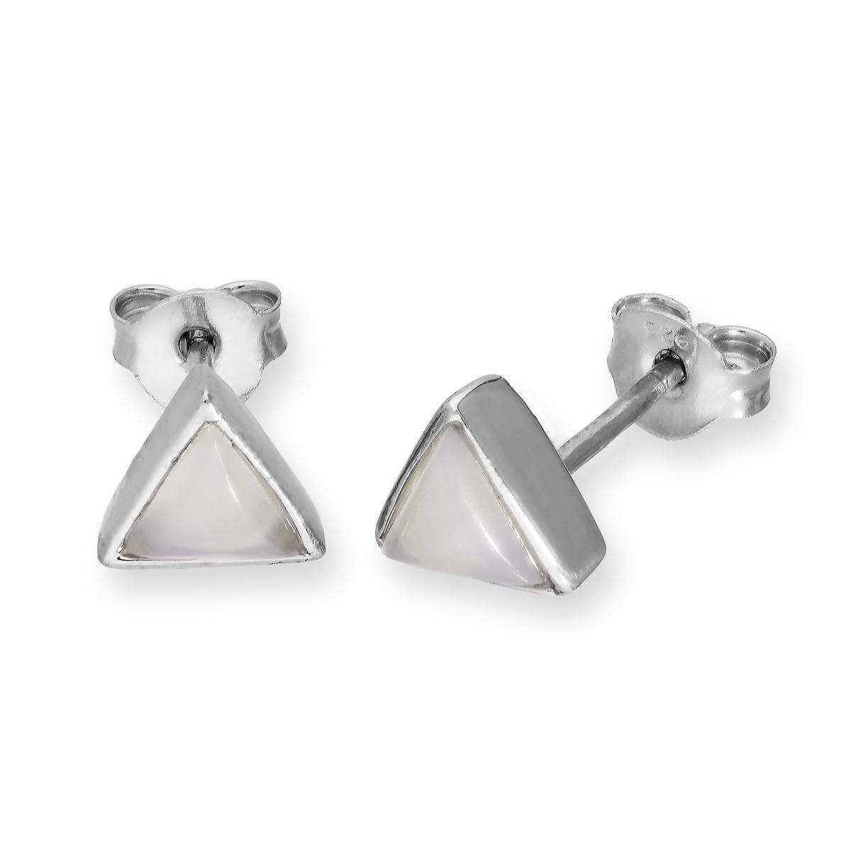 Sterling Silver & Moonstone Triangle June Birthstone Stud Earrings