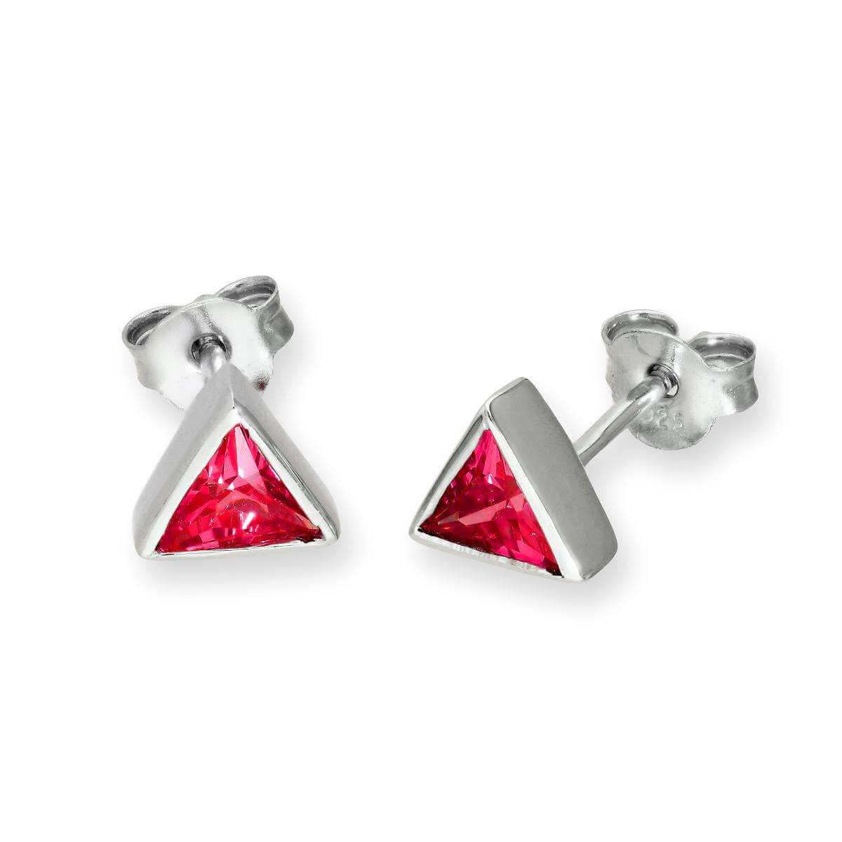 Sterling Silver & Ruby CZ Crystal Triangle July Birthstone Stud Earrings