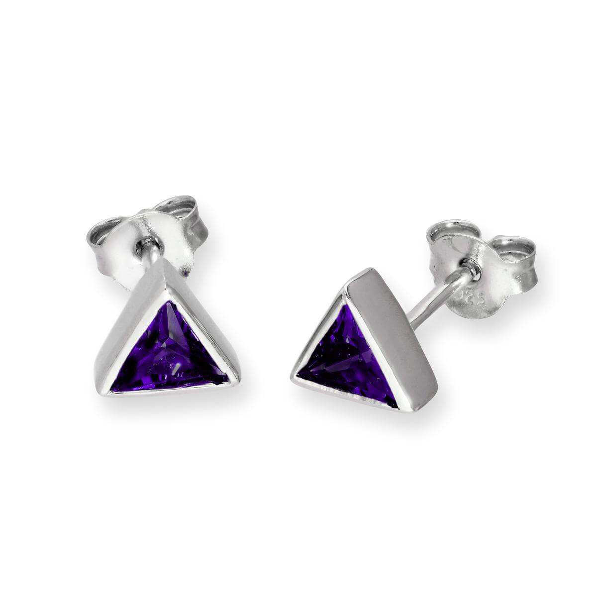 Sterling Silver & Amethyst CZ Crystal Triangle February Birthstone Stud Earrings