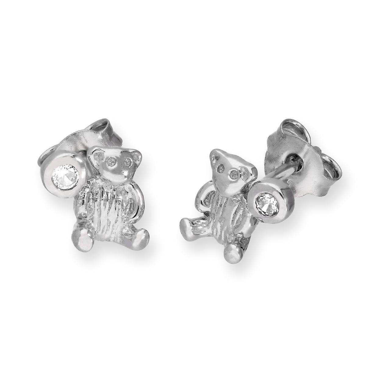 Sterling Silver Teddy Bear & Clear CZ Crystal April Birthstone Stud Earrings