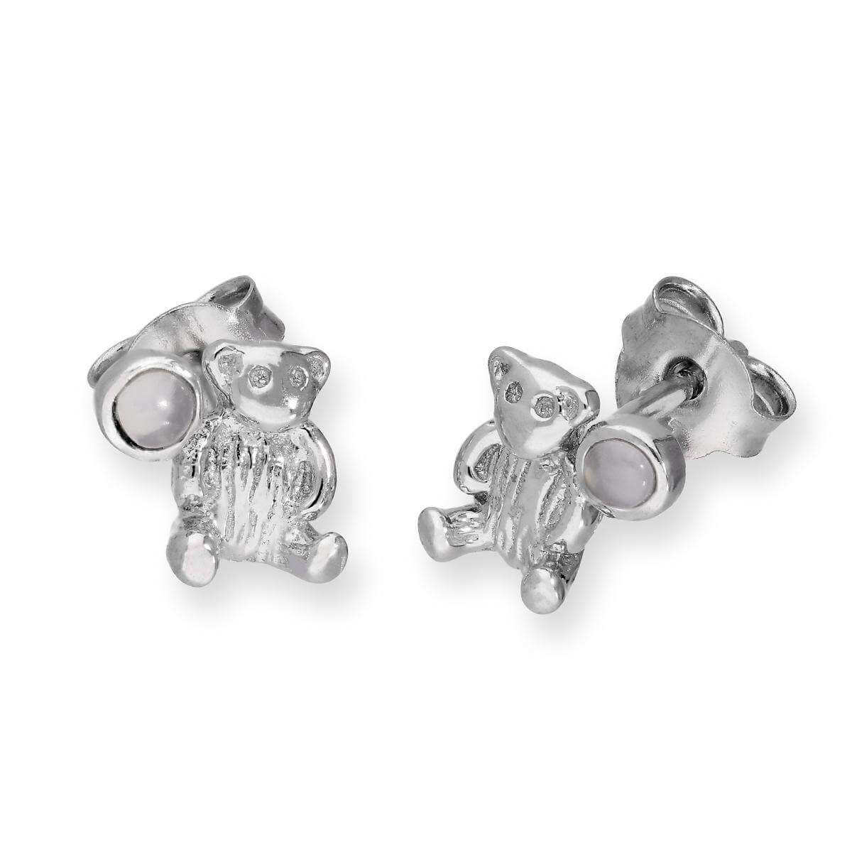 Sterling Silver Teddy Bear & Moonstone June Birthstone Stud Earrings