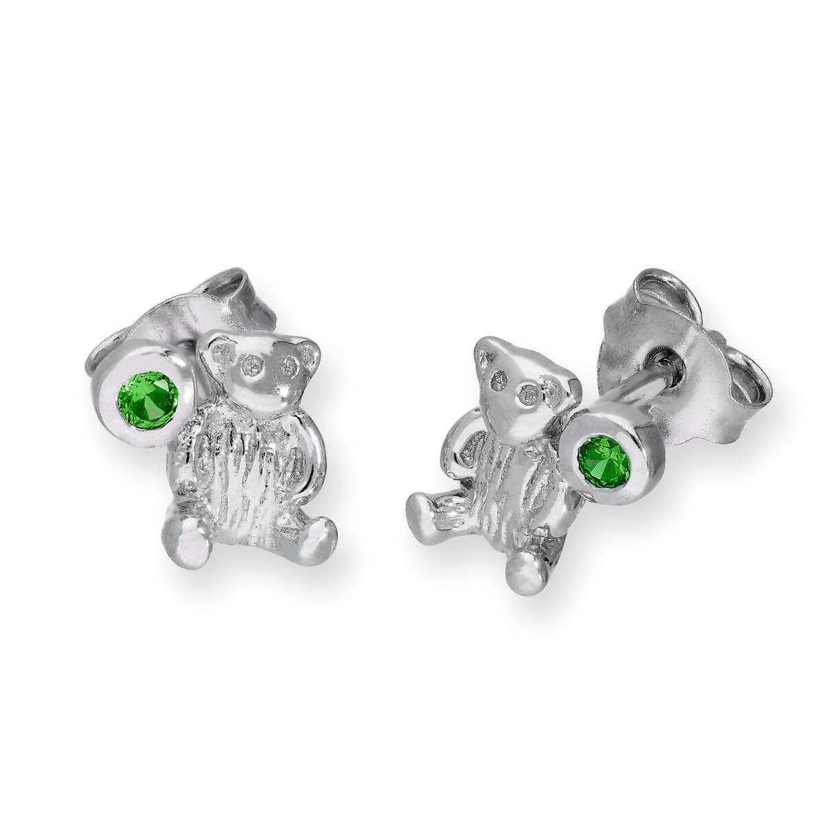 Sterling Silver Teddy Bear & Emerald CZ Crystal May Birthstone Stud Earrings
