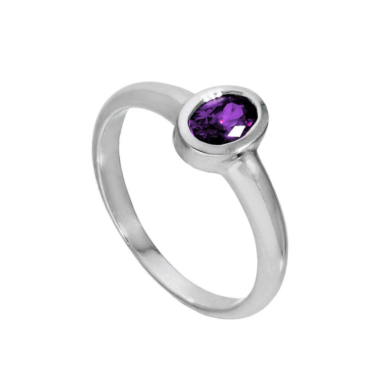 Sterling Silver & Amethyst CZ Crystal Oval February Birthstone Ring Sizes J - U