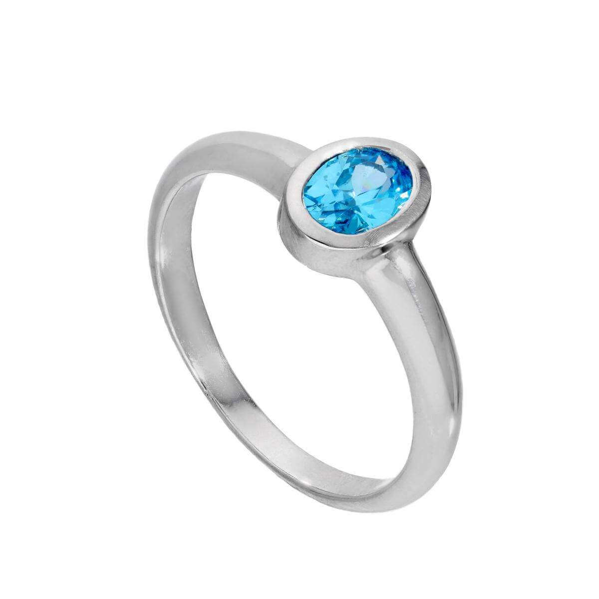 Sterling Silver & Aquamarine CZ Crystal Oval March Birthstone Ring Sizes J - U