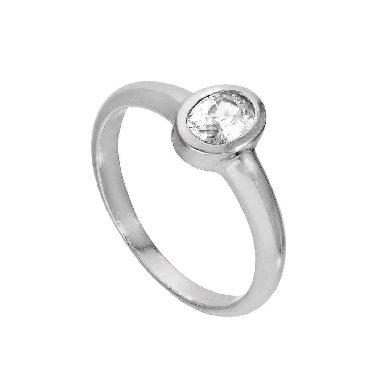 Sterling Silver & Clear CZ Crystal Oval April Birthstone Ring Sizes J - U