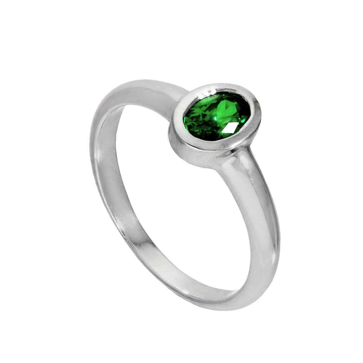 Sterling Silver & Emerald CZ Crystal Oval May Birthstone Ring Sizes J - U