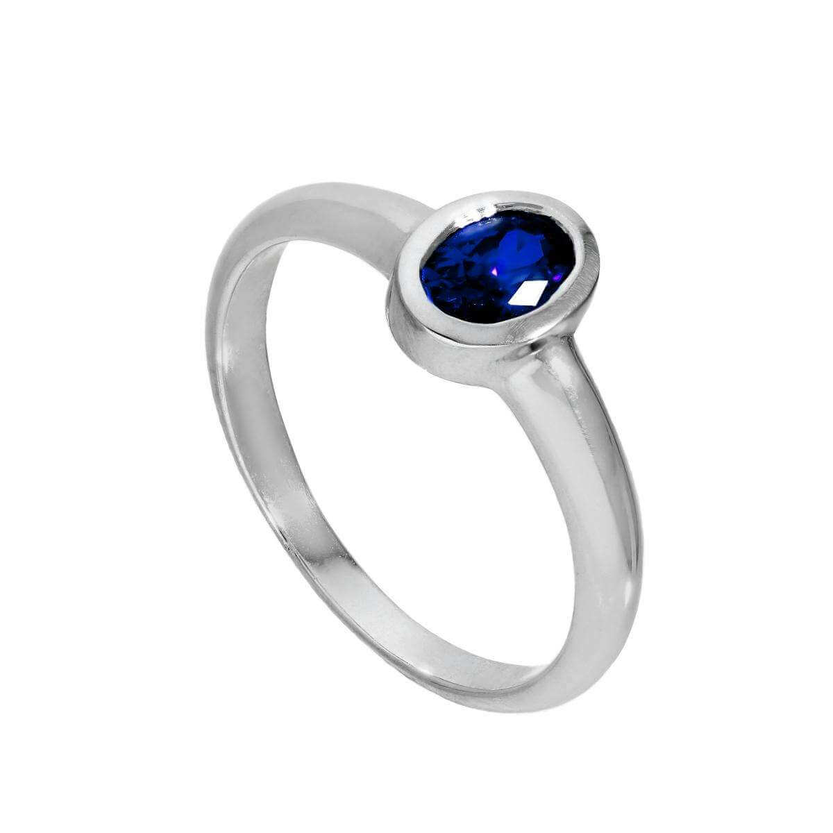 Sterling Silver & Sapphire CZ Crystal Oval September Birthstone Ring Sizes J - U