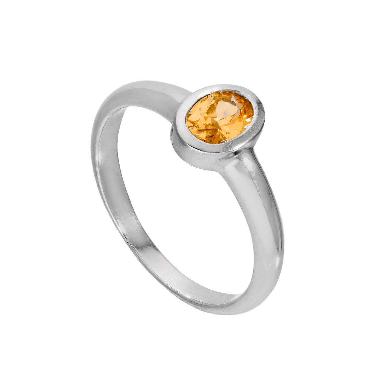 Sterling Silver & Citrine CZ Crystal Oval November Birthstone Ring Sizes J - U